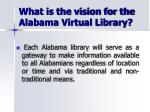 what is the vision for the alabama virtual library1