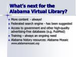 what s next for the alabama virtual library