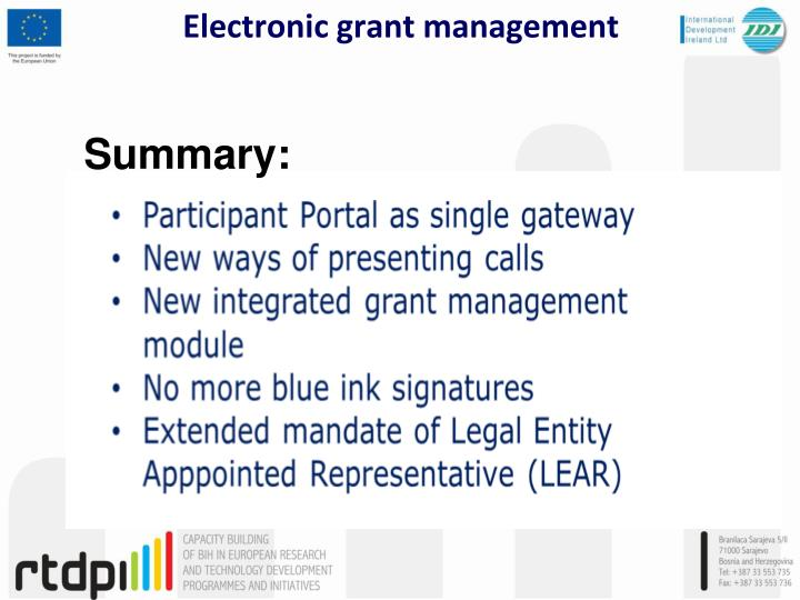 Electronic grant management