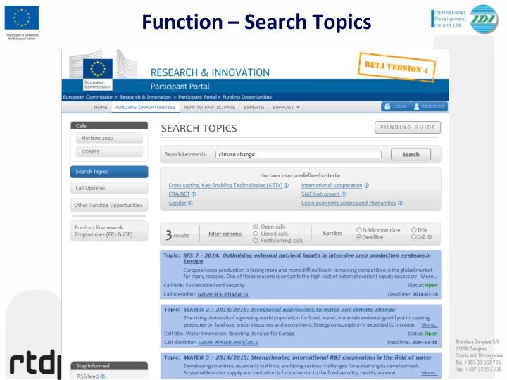 Function – Search Topics