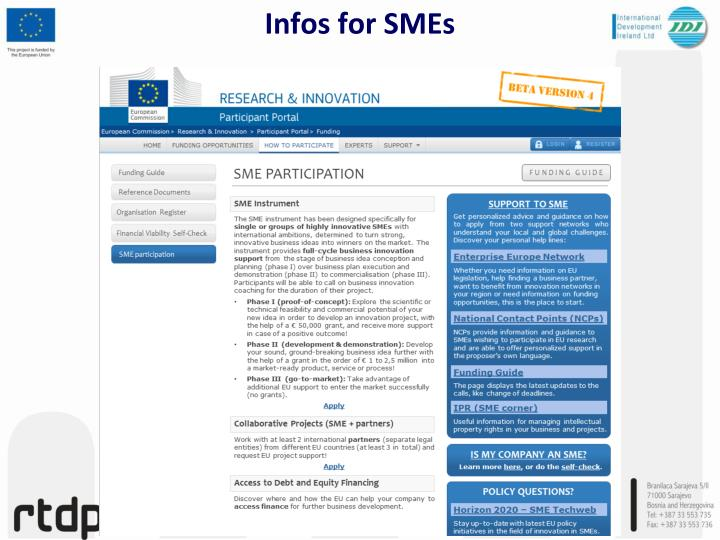 Infos for SMEs