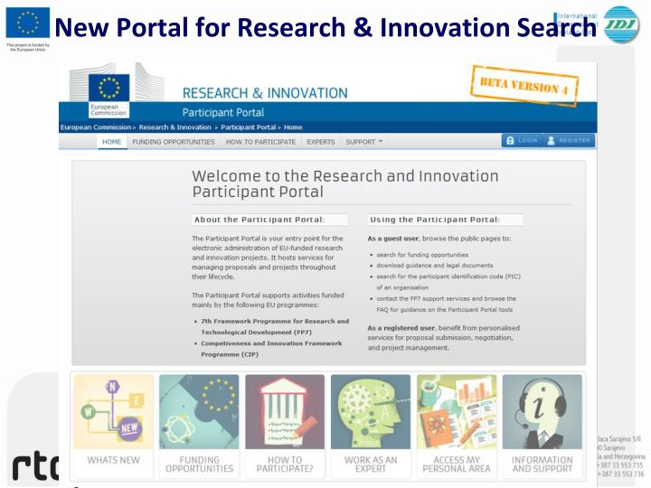 New portal for research innovation search