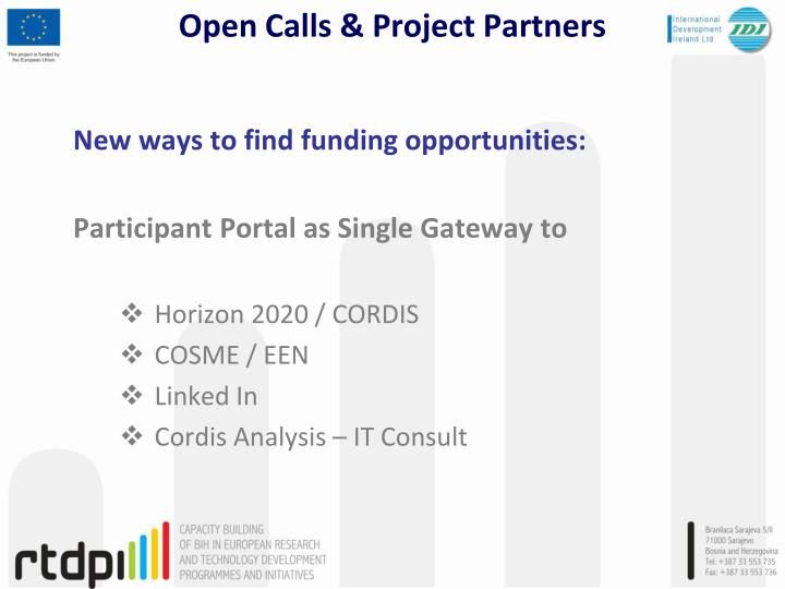 Open calls project partners