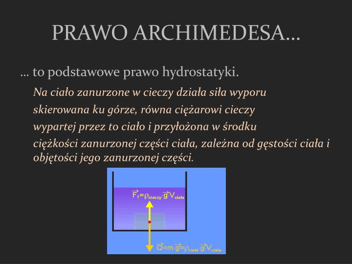 PRAWO ARCHIMEDESA…