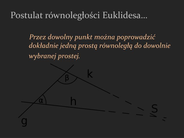 Postulat równoległości Euklidesa…