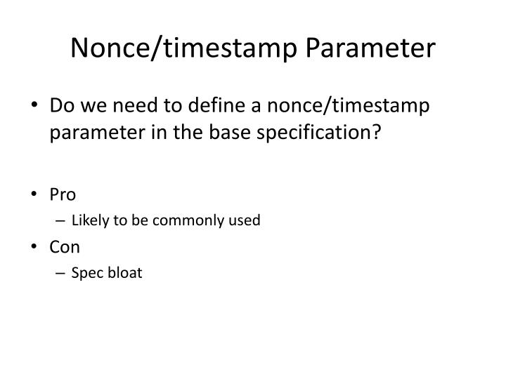 Nonce/timestamp Parameter