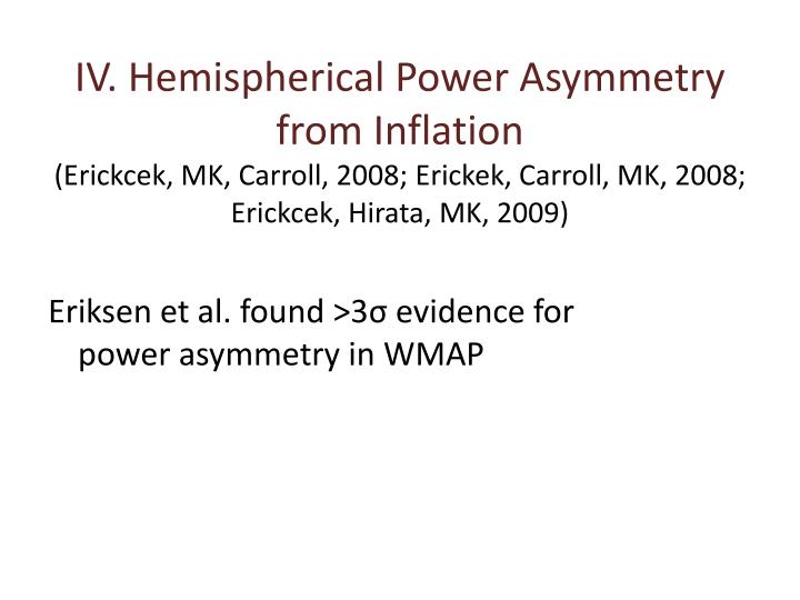 IV. Hemispherical Power Asymmetry from Inflation