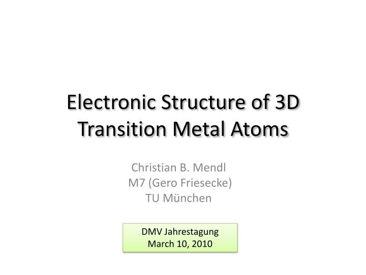 electronic structure of 3d transition metal atoms n.