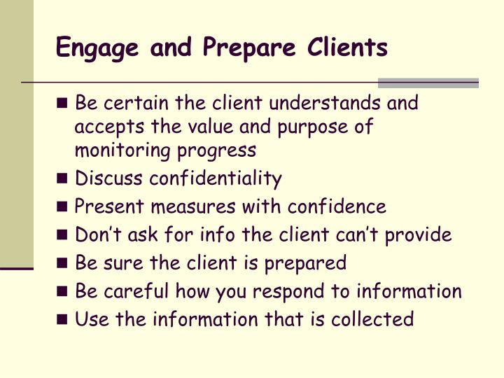 Engage and Prepare Clients