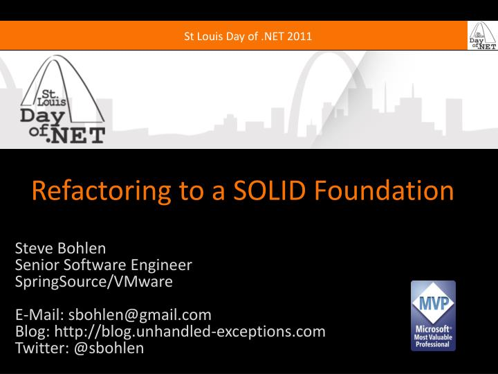 refactoring to a solid foundation n.