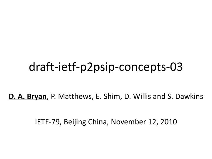 draft ietf p2psip concepts 03 n.