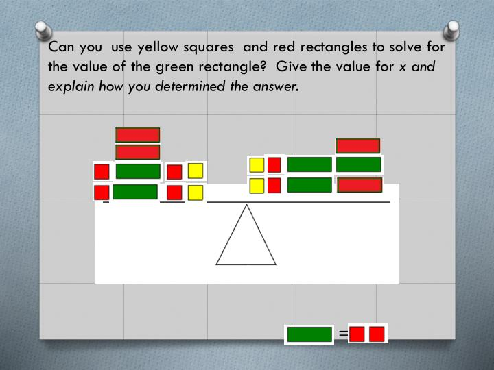 Can you  use yellow squares  and red rectangles to solve for the value of the green rectangle?  Give