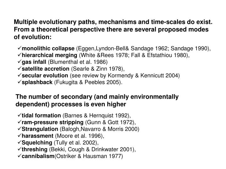 Multiple evolutionary paths, mechanisms and time-scales do exist. From a theoretical perspective there are several proposed modes of evolution: