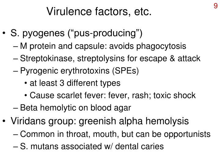 Virulence factors, etc.