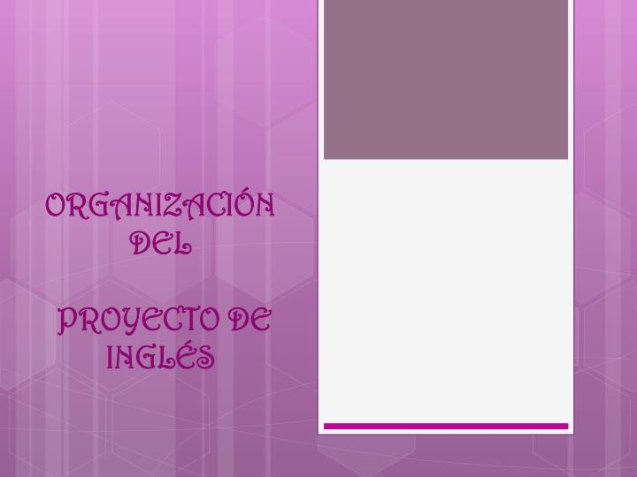 Organizaci n del proyecto de ingl s