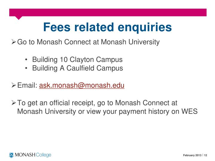 Fees related enquiries