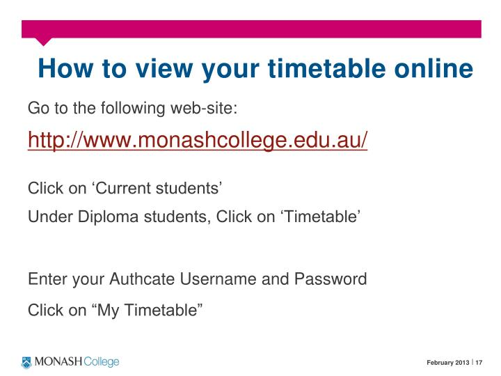How to view your timetable online