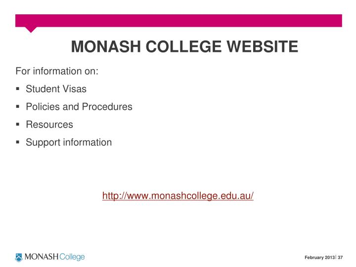 MONASH COLLEGE WEBSITE
