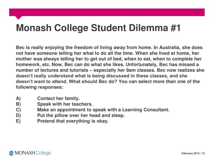 Monash College Student Dilemma #1