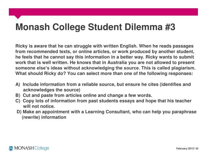Monash College Student Dilemma #3