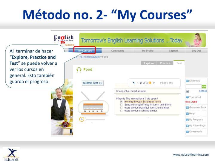 """Método no. 2- """"My Courses"""""""