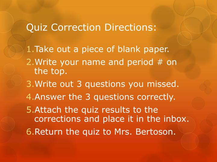 Quiz Correction Directions: