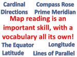 map reading is an important skill with a vocabulary all its own
