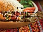 ethnic adjective relating to a small but distinct social group within the population
