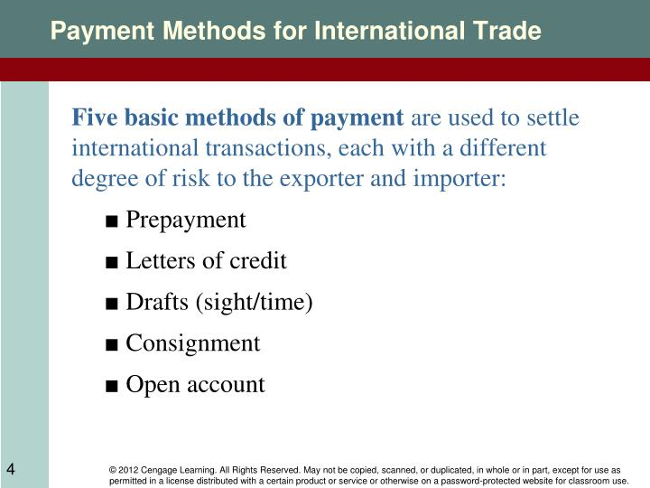 international trade payment method with special 4 methods of payment used in international trade are open account, advance payment, documentary collection & documentary credit for importers that want to kn.