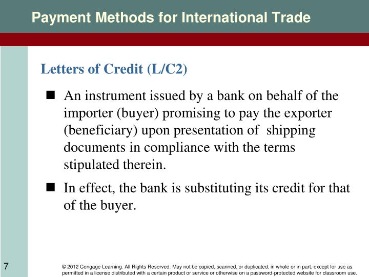 international trade payment method with special