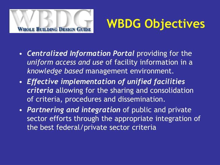 WBDG Objectives