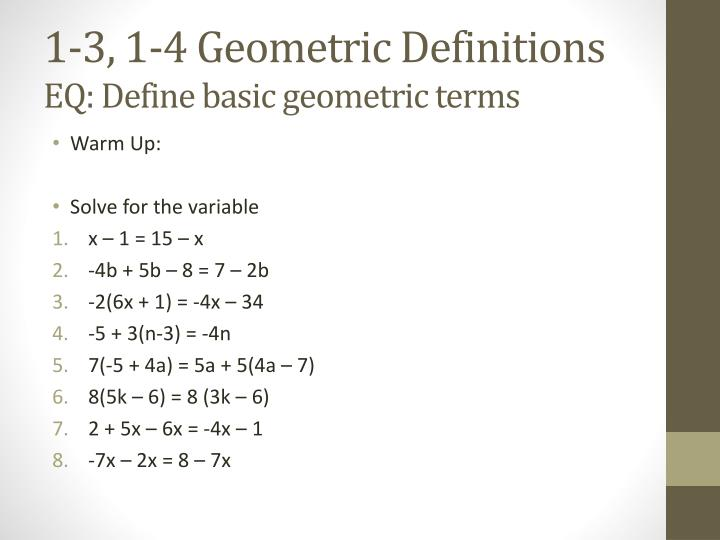 1-3, 1-4 Geometric Definitions