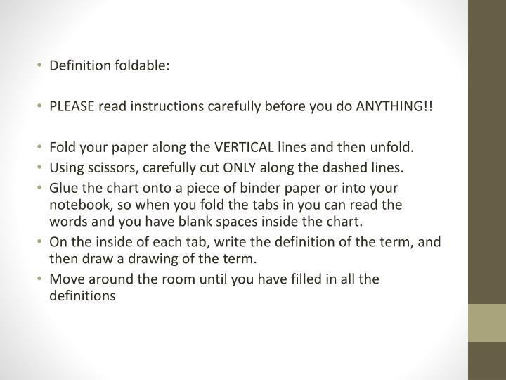 Definition foldable: