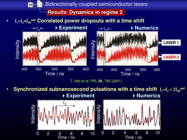 Synchronized subnanosecond pulsations with a time shift