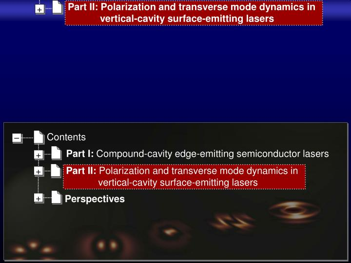 Part II: Polarization and transverse mode dynamics in