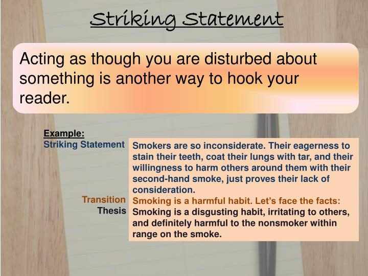 second hand smoke thesis statement