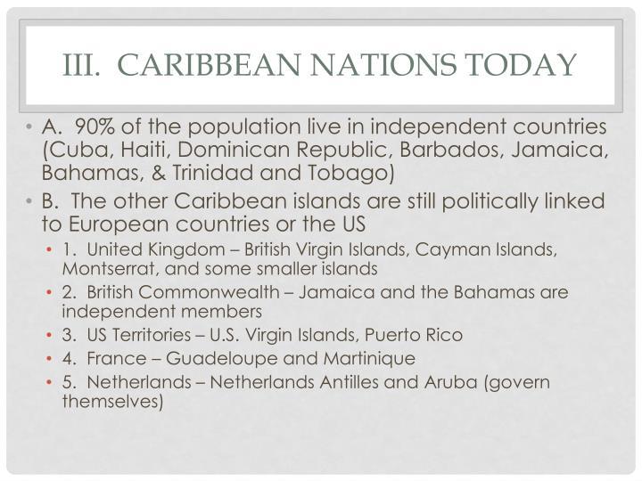 III.  Caribbean nations today