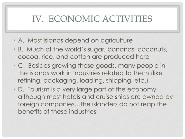 IV.  Economic activities
