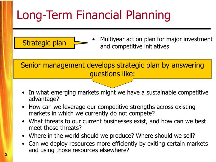 Long term financial planning
