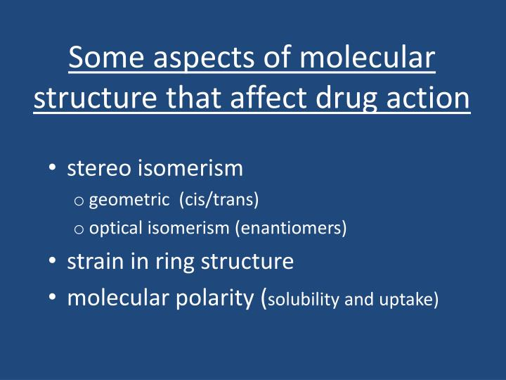 Some aspects of molecular structure that affect drug action