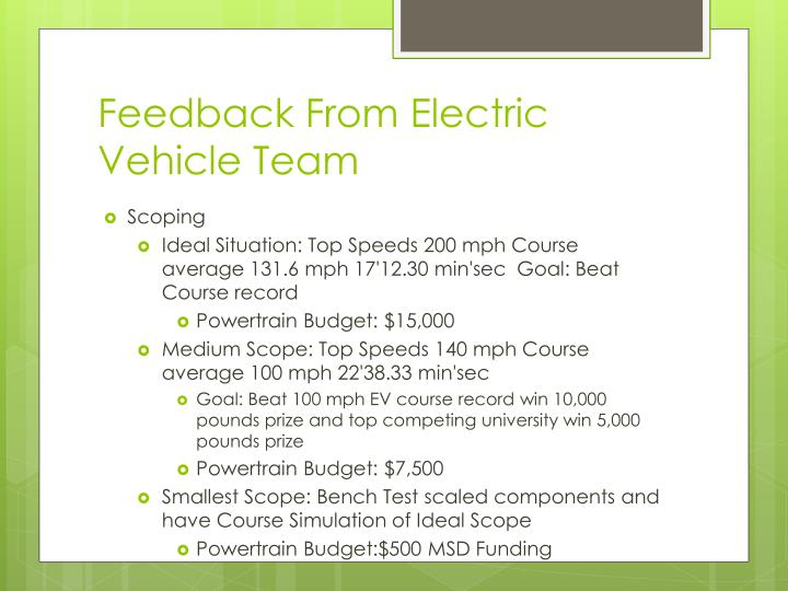 Feedback From Electric Vehicle Team
