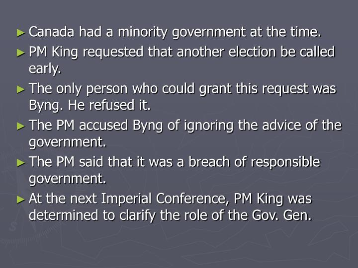 Canada had a minority government at the time.
