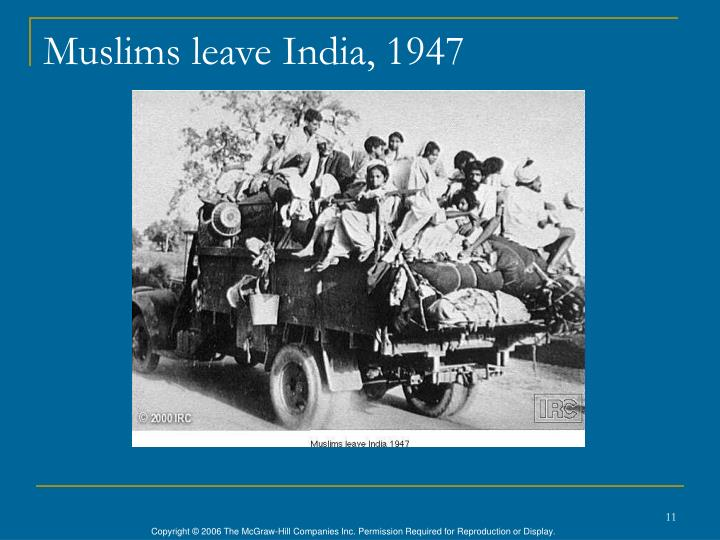 Muslims leave India, 1947