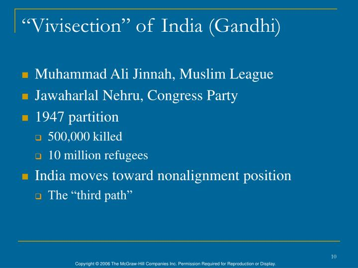 """Vivisection"" of India (Gandhi)"