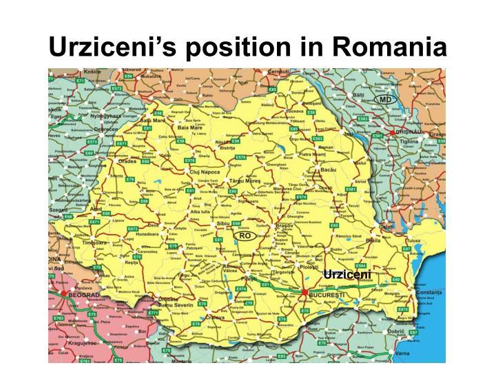Urziceni's position in Romania