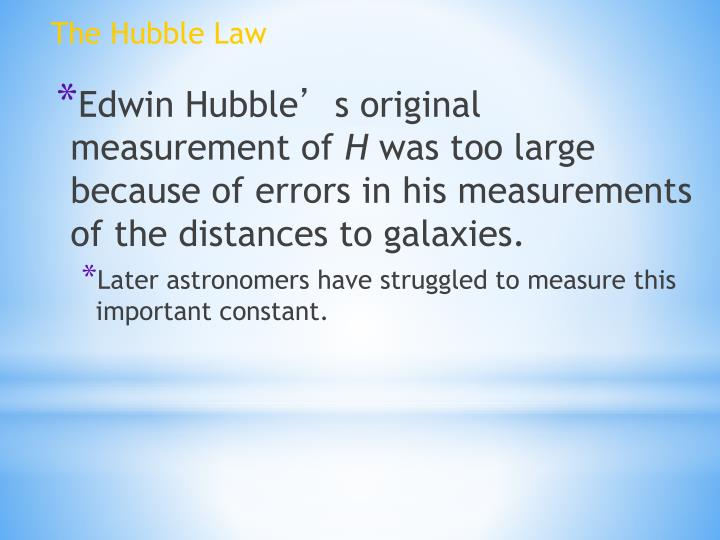 The Hubble Law