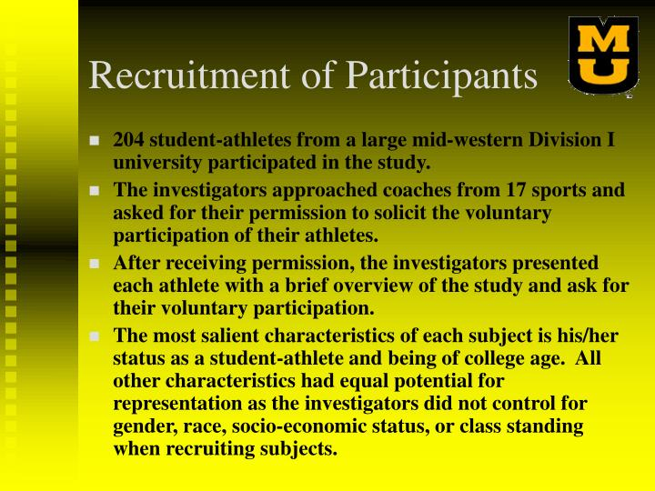 Recruitment of Participants