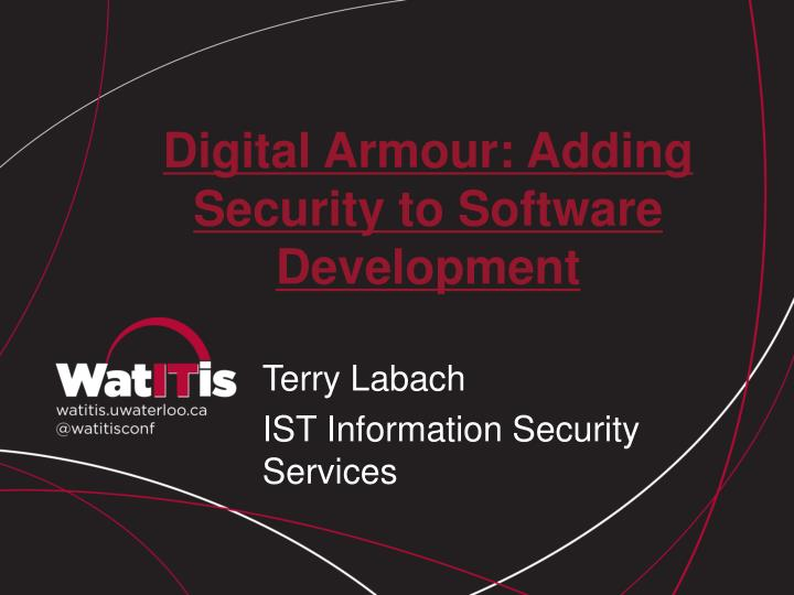 digital armour adding security to software development n.