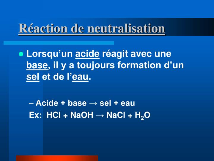 Réaction de neutralisation
