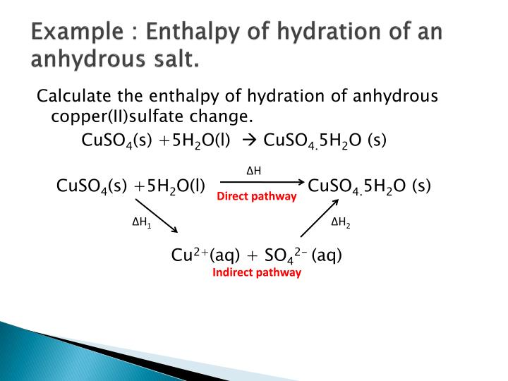 Example : Enthalpy of hydration of an anhydrous salt.